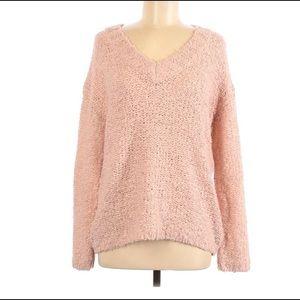 V Susina Sweater Fluffy V-Neck Boucle Knit Pink M